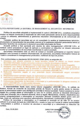 POLITICA REFERITOARE LA SISTEMUL DE MANAGEMENT AL SECURITATII INFORMATIEI